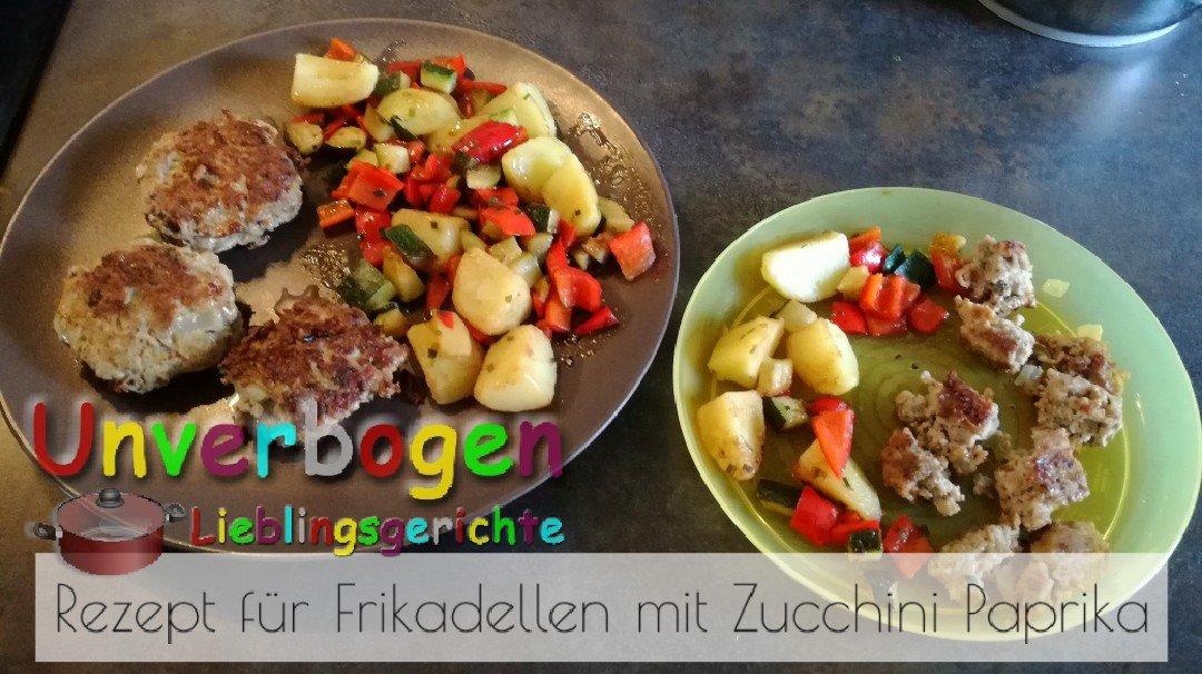 Rezept für Frikadellen mit Zucchini Paprika Gemüse