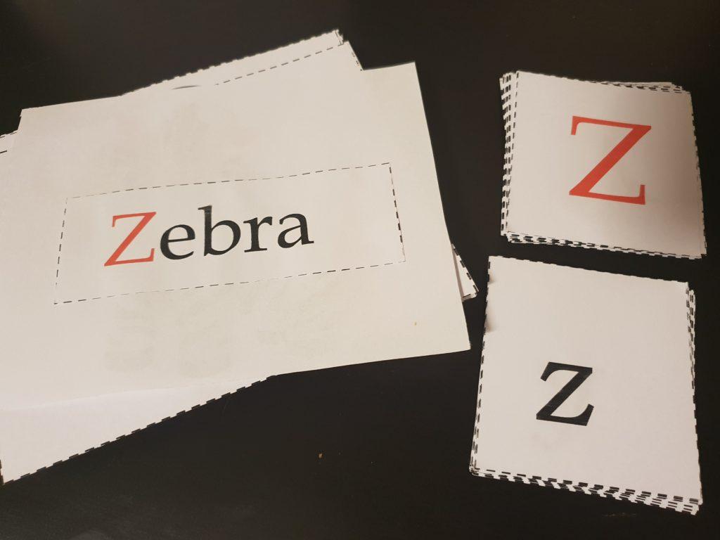 Buchstaben Lernen Lernkarten Z wie Zebra