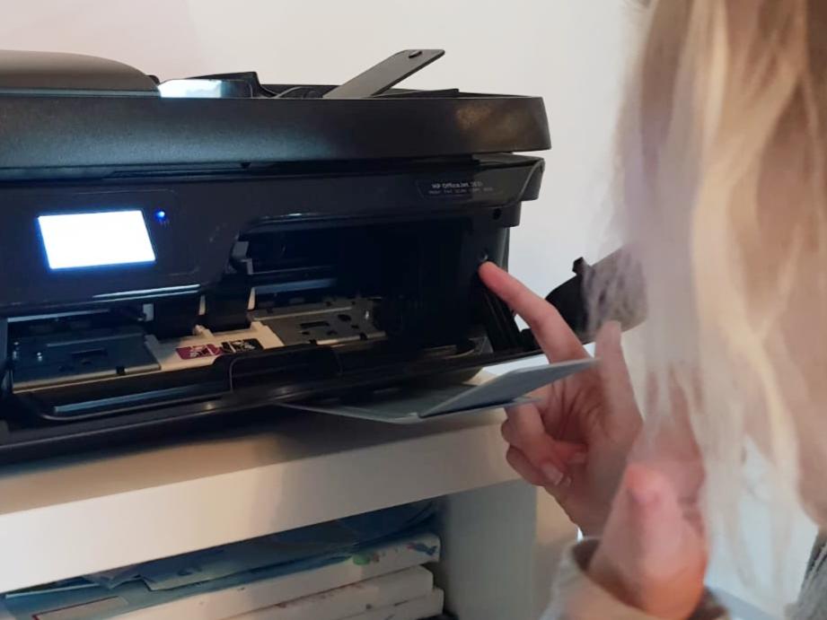 Es gibt immer etwas zu lernen: Nana untersucht den Drucker.