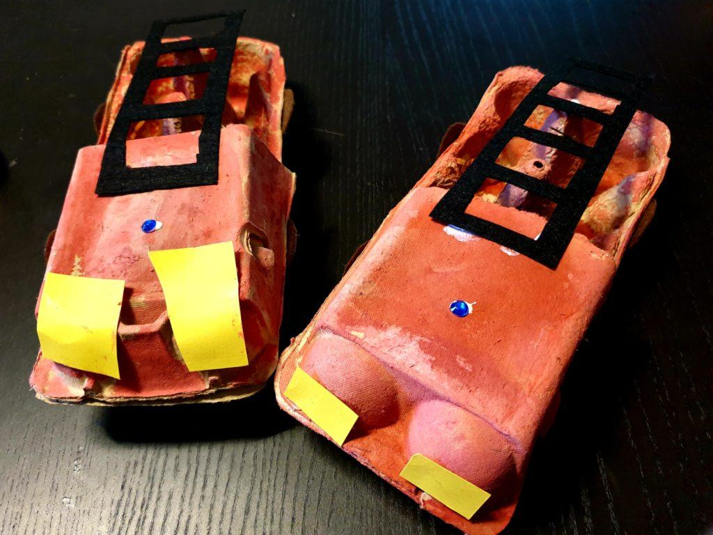 Basteln | Feuerwehrwagen aus Eierkarton