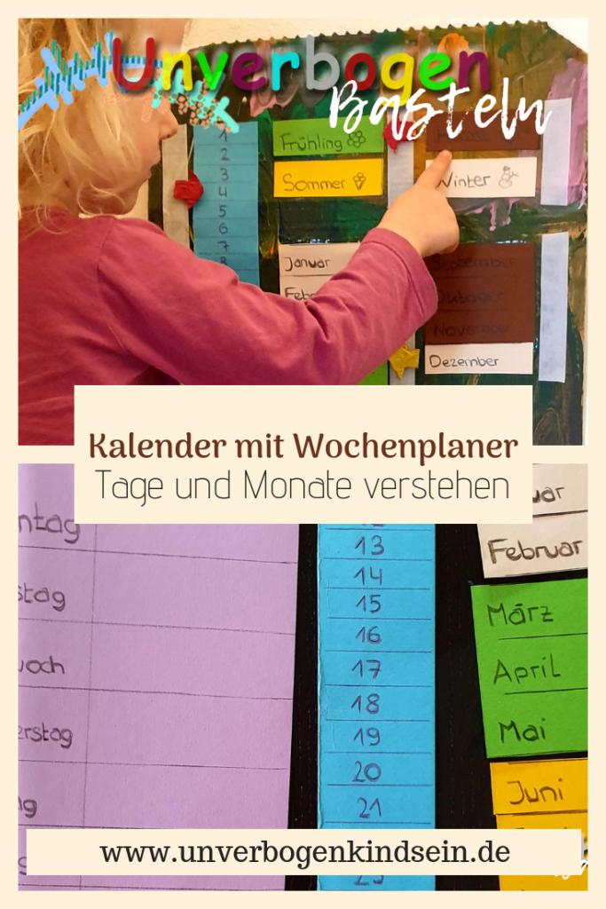 Basteln Kalender für Kinder mit Wochenplaner. Tage und Monate verstehen #lernen #dasjahr