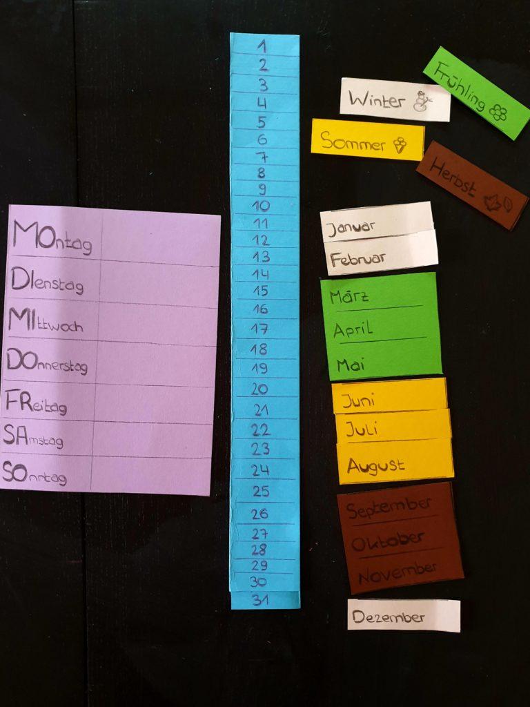 Basteln Kalender für Kinder mit Wochenplaner.